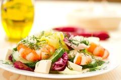 Fresh salad with shrimp Royalty Free Stock Photos