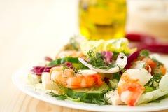 Fresh salad with shrimp Stock Photography