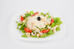 Fresh salad with shrimp. And cheese, clipping path included stock image