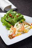Fresh salad with shrimps Stock Photography