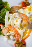 Fresh salad with shrimps Stock Images