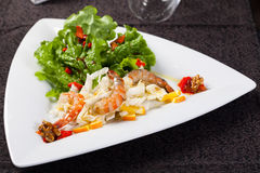 Fresh salad with shrimps and walnuts Royalty Free Stock Photos