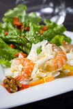 Fresh salad with shrimps and walnuts Royalty Free Stock Photo