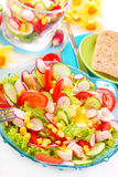 Fresh salad with smoked chicken Stock Image