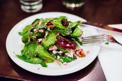 Fresh salad with spinach, beetroot and cheese royalty free stock image