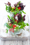 Fresh salad with strawberries, arugula, blue cheese and pine nut royalty free stock photography