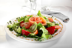 Fresh salad with tasty garnish. Fresh and tasty european salad on white dish Royalty Free Stock Photos