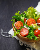 Fresh salad with tomato, frisee and onion Royalty Free Stock Image