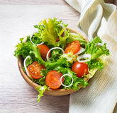 Fresh salad with tomato, frisee and onion Stock Photo