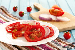 fresh salad with tomato and onion Royalty Free Stock Photography