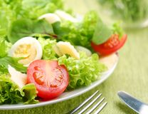 Fresh salad with tomato and quail eggs Stock Images