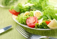 Fresh salad with tomato and quail eggs Royalty Free Stock Photography