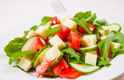 Fresh salad with tomatoes, arugula, cucumber and cheese cubes. On white plate stock photos