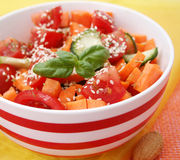 Fresh salad of tomatoes and carrots Royalty Free Stock Photo