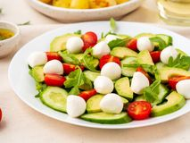 Fresh salad with tomatoes cucumbers arugula mozzarella and avocado. Oil with spices rosemary thyme, side view close up. Fresh salad with tomatoes cucumbers stock photo