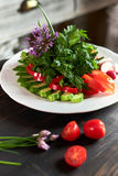 Fresh salad of tomatoes, cucumbers, peppers, arugula and dill jpg Royalty Free Stock Photography
