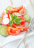 Fresh salad. Of tomatoes, cucumbers, radishes and parsley Stock Images