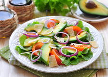 Fresh salad with tomatoes, lettuce, onions, avocado and parmesan cheese Stock Image