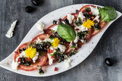 Fresh salad of tomatoes and mozzarella. Recipe with olive oil with red onion, olives and basil Stock Photos