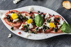 Fresh salad of tomatoes and mozzarella. Recipe with olive oil with red onion, olives and basil Stock Image