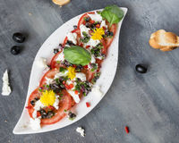Fresh salad of tomatoes and mozzarella. Recipe with olive oil with red onion, olives and basil Royalty Free Stock Photography