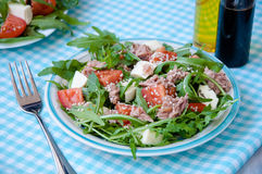 Fresh salad with tomatoes, ruccola, tuna Stock Image