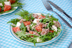 Fresh salad with tomatoes, ruccola and tuna Stock Photos