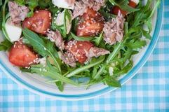 Fresh salad with tomatoes, ruccola and tuna Stock Photo