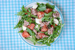 Fresh salad with tomatoes, ruccola and tuna Stock Photography