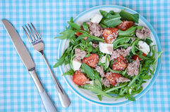 Fresh salad with tomatoes, ruccola and tuna Stock Images