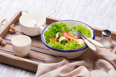 Fresh salad on the tray Royalty Free Stock Images