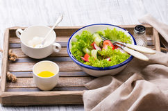 Fresh salad on the tray Royalty Free Stock Image