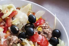 Salad. Fresh salad with tuna and olives royalty free stock image