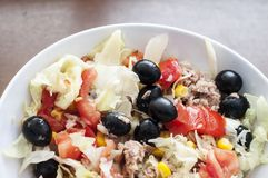 Salad. Fresh salad with tuna and olives royalty free stock photos