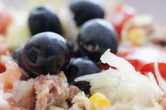 Salad. Fresh salad with tuna and olives stock photography