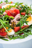 Fresh salad with tuna, tomatoes, eggs, arugula and mustard on blue wooden background close up Royalty Free Stock Image