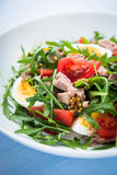 Fresh salad with tuna, tomatoes, eggs, arugula and mustard on blue wooden background close up Stock Images