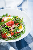 Fresh salad with tuna, tomatoes, eggs, arugula and mustard on blue wooden background close up Stock Image