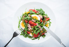 Fresh salad with tuna, tomatoes, eggs, arugula and mustard on white textured background top view Stock Photo