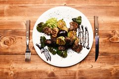 Fresh salad of veal cooked with delicious grilled vegetables royalty free stock image