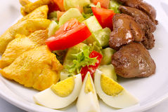 Fresh salad with vegetables, chiken and liver Stock Photography