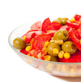 Fresh salad with vegetables and oil Royalty Free Stock Images