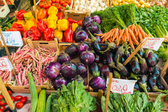 Fresh salad and vegetables for sale. At a market Stock Photo