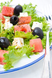 Fresh salad with watermelon, feta cheese and olives Stock Photo