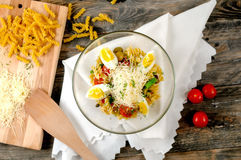 Fresh salad whith pasta and olives Royalty Free Stock Images