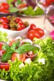 Fresh Salad With Onion Tomato And Basil Stock Photos