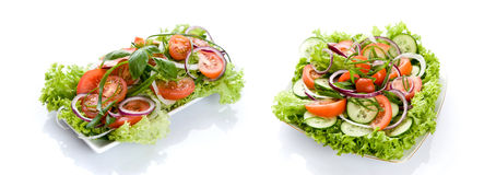 Fresh Salad With Onion, Tomato And Basil Isolated Royalty Free Stock Photos