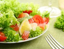 Fresh Salad With Tomatoes And Salmon Royalty Free Stock Image