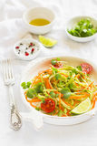 Fresh salad with zucchini and carrots in a vintage plate Royalty Free Stock Image