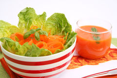 Fresh salads. Some fresh salads with carrots and basil Royalty Free Stock Photo